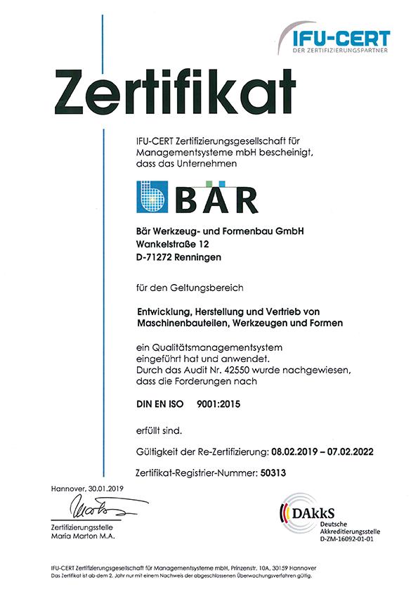 2019_ISO_9001_Zertifikat_Bär